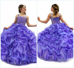 Wholesale Hot Cheap Custom made Lovely Spaghetti Backless Ball Gown Floor length Beads Crystals Pleats Organza First Communion Dress