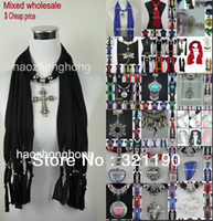 Wholesale 60pcs Mixed design Cheap price Fashion scarf jewelry with beads pendant scarves cross charms necklace polyester