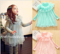 Solid ruffle yarn - 2013 Autumn New Arrival Fashion Cute1 Years Baby Girl s Long Sleeve High necked Yarn Dress Ruffled Collar Dress