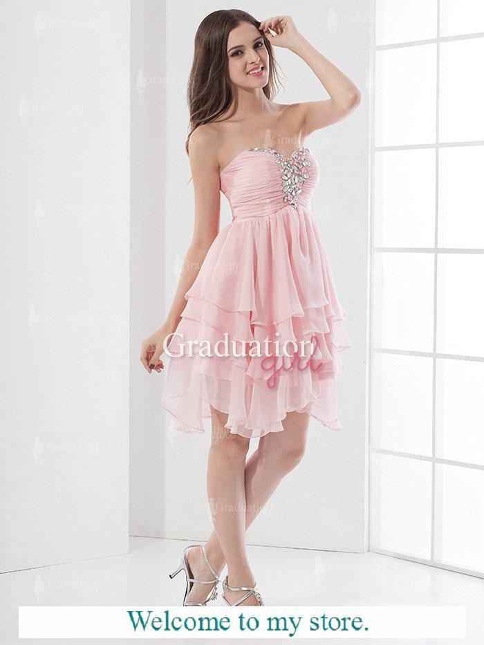 Baby Pink Homecoming Dresses A Line Sweetheart Chiffon Layered Rhinestones Short Eveninig
