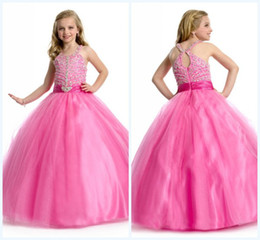 Wholesale Custom made Lovely Ball Gown Floor length Spaghetti Beads Crystals Tulle First Communion Dress
