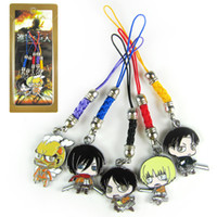 anime cell phone straps - 10sets Japanese Anime Cartoon Attack on Titan Eren Mikasa Rivaille Cell Phone Strap Metal Pendants ANPD303