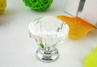 Wholesale 20Pcs Furniture Hardware Clear Crystal Glass Pull Handle Knobs Cabinet Door New Diameter mm