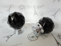 Wholesale 30Pcs Design Fashion K9 Black Crystal Glass Chrome Cabinet Knobs Door Drawer Handle New Diameter MM Color Black