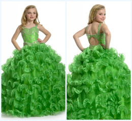 Wholesale Lovely Custom made Ball Gown Floor length Spaghetti Backless Crystals Beads Pleats Organza First Communion Dress