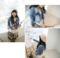 Wholesale 2014 New Style Girls Women s Denim Jacket Distressed Crop Denim Jean Jacket Coat