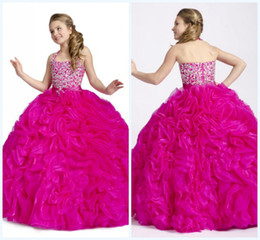 Wholesale Hot Lovely Custom made Fuchsia Ball Gown Spaghetti Backless Floor length Beads Crystals Pleats Organza First Communion Dress