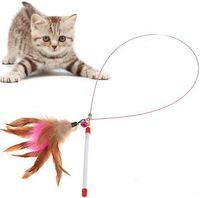 Wholesale 210pcs Colorful Feather Design Tease Cat Stick Cat Catcher Teaser Toy Color Assorted