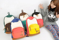 Wholesale College Wind canvas shoulder bag Korean Ladies fashion students backpack for schoolbag travel bag fashion bag retail