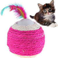 Wholesale Cute Cotton Ball Design Toy Collection for Cat Kitty Pet Color Assorted