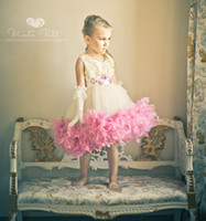 Cheap Feathers Flower Girl Dress Extravaganza Girls Teen Dress Ball Gown Knee Length Ribbon Lovely Tulle Girls Pageant Kids Birthday