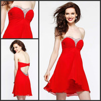 Wholesale Hot Red Good Homecoming Dresses Custom made Pretty Shiny Beaded Sweetheart Backless A line Short Chiffon Young Girl s Party Dresses