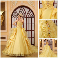 Wholesale Attractive Graceful Yellow Flowers Strapless Backless Lace up Sweep Train Organza Beaded Tiered Ball Gown Gloves Wedding Dress