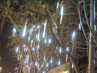 Wholesale 50CM LEDs Meteor Shower Rain Tube Snowfall LED Light White Outdoor Tree Garden Decoration LED Light Tubes LEDs in Total