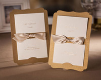 Gold invitation letter - CW3075 Perfect design golden bow Invitation card Wedding Invitations come envelopes sealed card