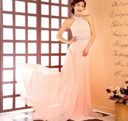 High Quality Charming A-line Halter Sweep Train Beaded Light Pink Bridesmaid Dresses Chiffon Prom Dresses