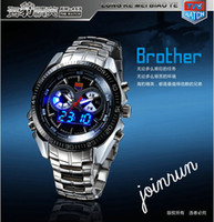 Wholesale 2013 New Trendy Men s Sport Watch Fashion LED Analog Dive Watch for Men Dual Movements Waterproof HongKong Post