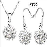 Silver Plate/Fill shamballa earrings - Dazzling mm White Clay Disco Ball Crystal Shamballa Earrings Jewelry set Silver Jewelry sets