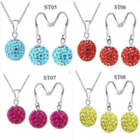 Silver Plate/Fill 925 necklace - Top Sale Silver Mixed Colors mm Crystal Disco Ball Shamballa Dangle Necklace Earrings Set sets
