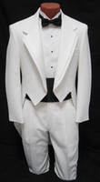 Polyester Standard Regular MEN'S BOYS White Tuxedo Tailcoat Dance Costume Tux Tails Coat Bridegroom wedding suits(Jacket+Pants+bow)