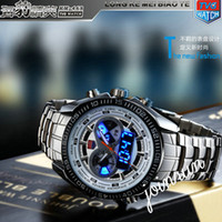 Wholesale 5pcs New Trendy Men s Sport Watch Fashion LED Analog Dive Watch for Men Dual Movements Waterproof Via DHL