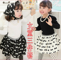 Spring / Autumn bandage skirt outfit - Spring Autumn Children s Outfits baby Girls long sleeve skirt suits black white T shirts bow skirts Scarf Bandage sets kids suit