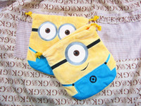 Wholesale 30 new Despicable Me yellow wallet cute people Bunch of pocket drawstring bags plush styles children gift