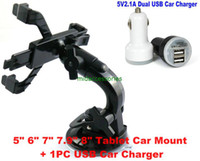 Wholesale 7 quot DOPO Double Power T T T711 T708 M7088 D7015 M740 Tablet Rotating Car Holder Mount Stand Dual USB Car Charger Cord