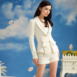 Wholesale Long Sleeve Women s White Blazers Suit With Big Bow Lapel Neck Puff Sleeve OL Work Suits Outwear Winter Christmas Coat Jacket HY0888