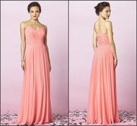 Wholesale 2014 Bridesmaid Dresses Sweetheart Chiffon Coral Floor Length Column Pleated Ruched Ruffle Party Dresses After Six