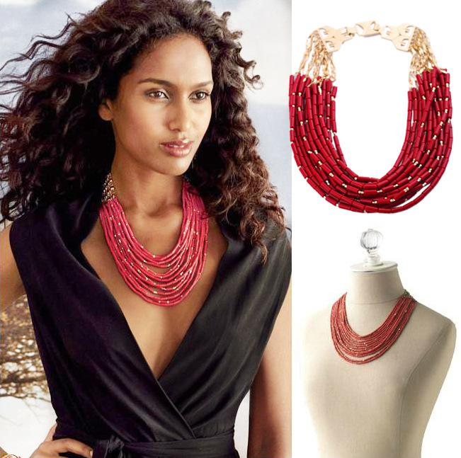 Celebrity Style Beads: 2017 Red Beaded Layered Multi Strand Necklace Chunky Gold
