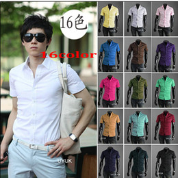 Wholesale monde new Summer colours Men s shirts Korean Casual Slim fit Mens shirts fashion Men s Short Sleeve shirts