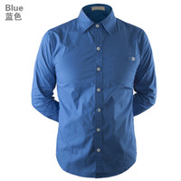 Wholesale 2013 Autumn Clothing Plain Mens Shirt Fashion Casual Business Long Shirt Bule And Grey Retal Free Shipment
