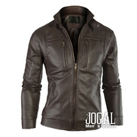 Jackets Men Leather_Like Autumn Clothing Men Leather Jacket Mandarin Collar Mens Jacket Black Brown Factory Drop Shipment