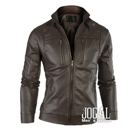 Wholesale Autumn Clothing Men Leather Jacket Mandarin Collar Mens Jacket Black Brown Factory Drop Shipment