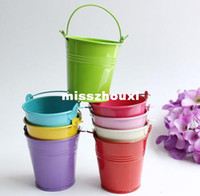 Wholesale Small Metal Pails Colored Buckets Decorative Tin Indoor Mini Galvanized Containers Flowers Holder