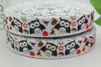 Ribbons Yes Printed hot 7 8'' Free shipping owl cartoon heat transfer printed grosgrain ribbon bow diy party decoration custom wholesale 22mm P303