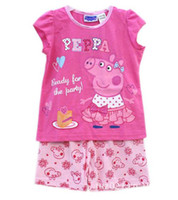 Wholesale Baby cute Pajamas sets Peppa pig Embroidery kid girl sleepwear piece clothing sets set