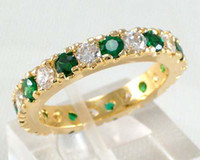 Wholesale Jewellery Brand New emerald lady s KT yellow Gold plated Ring sz8