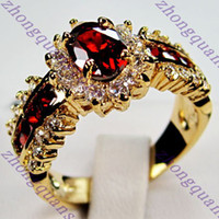 Wholesale Jewelry Brand new ruby lady s KT yellow Gold plated Ring sz8 for gift