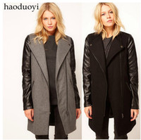 Wholesale NEW HOT Haoduoyi Women s Coat Outerwear PU leather sleeve stitching Zipper Epaulette coat woolen outerwear warm