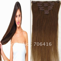Wholesale 16 Womans Straight Clip in Remy Real Human Hair Extensions set g Medium Brown