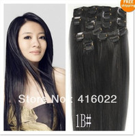 Wholesale 16 inches Clip in Straight Human Hair Extensions Natural Off Black B Color set amp g set