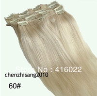 Wholesale 16 inches Clip in Straight Human Hair Extensions Platinum Blonde Color set amp g per set
