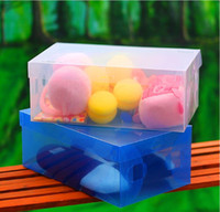 plastic storage - FreeShipping Drawer Storage Shoe Boxes Cover CLEAR Plastic Shoes Box FOLDABLE Storage Box for SHOES Child Lady Man Size
