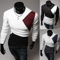 Wholesale New Arrival Fashion men s t Shirts Casual Personality spell color round neck long sleeved Slim Men s T shirts