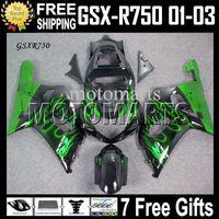 Wholesale 7gifts CowlFits SUZUKI K1 GSX R750 green flames black GSXR750 GSXR MT A56 GSX R750 Free Custom green Fairing