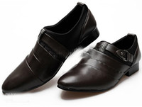 Men new style man dress shoes - Fashion New British Style Men Breathable Genuine Leather Buckle Pointed Dress Shoes
