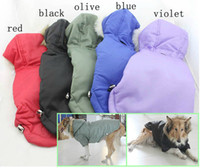 Wholesale Dog Apparel Autumn and Winter Large dog clothes Black Red olive hooded winter jacket ski suit warm and comfortable Dog Supplies Free Shippin