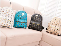 Wholesale New korea hot sell rivet mcm backpack exo star travel bag quality pu four color